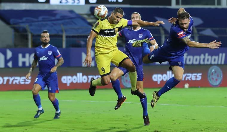 Aridane Jesus Cabrera Santana of Hyderabad FC jumps for a header during their match against Bengaluru FC | PTI