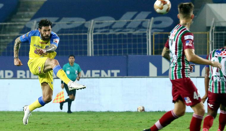 Gary Hooper of Kerala Blasters FC takes a shot to score a goal during the Indian Super League between ATK Mohun Bagan and Kerala Blasters FC at Fatorda Stadium in Goa | PTI