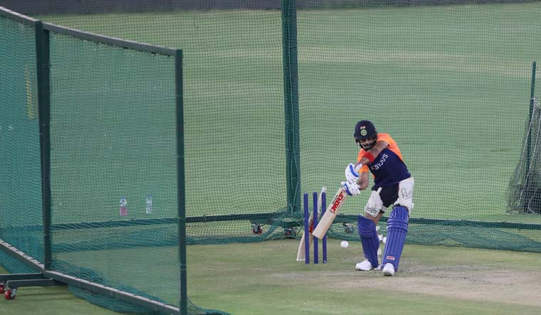 India captain Virat Kohli bats at the nets during a training session ahead of the first Twenty20 cricket match against England in Ahmedabad   AP