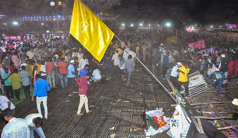 Spectators after a stand collapsed during the 47th Junior National Kabaddi Championship, in Surapet | PTI