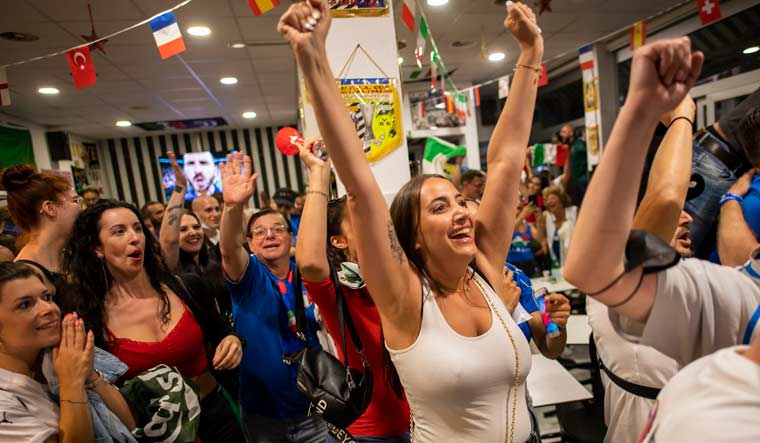 Italian fans living in Switzerland celebrate the victory after Italy beat England to win the Euro 2020 championships   AP