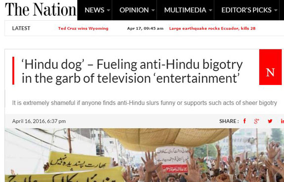 Hindus described as 'dogs'; Pak TV channel under fire