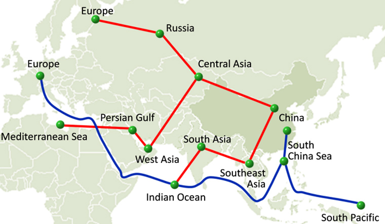 Map of the extent of One Belt, One Road | The Legislative Council  Commission of Hong Kong