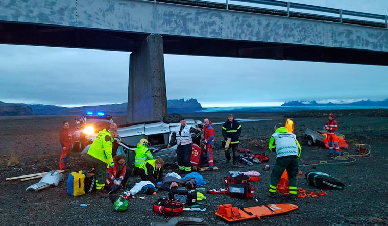 Three Brits including child dead after vehicle plunges off bridge in Iceland