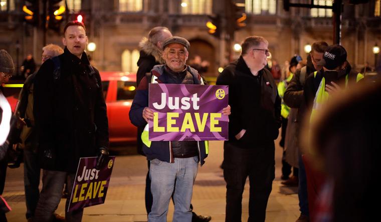 Pro Brexit protesters AP