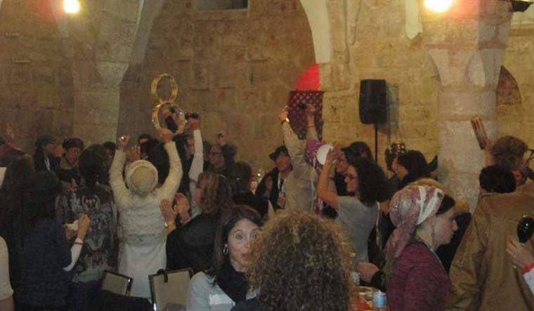 The image claimed to be that of Israelis dancing inside the mosque-turned-bar has been widely shared on social media