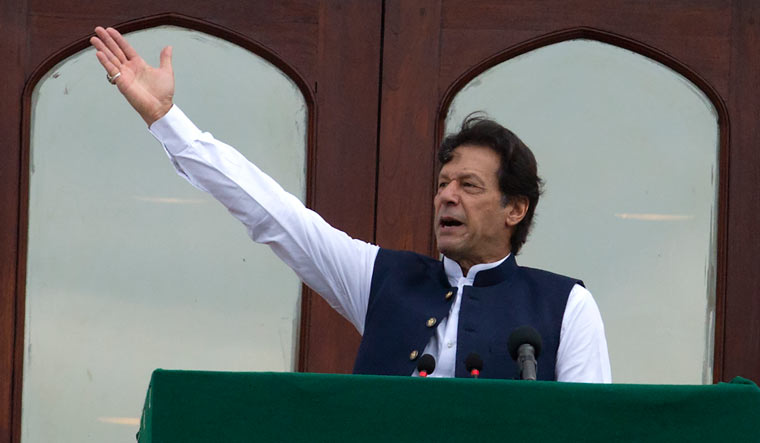 Pakistani Prime Minister Imran Khan addresses a Kashmir rally at the Prime Minister office in Islamabad | AP
