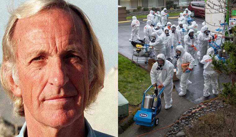 (L) John Pilger; (R)  A cleaning crew wearing protective clothing, enters the Life Care Center in Kirkland, Washington | AFP