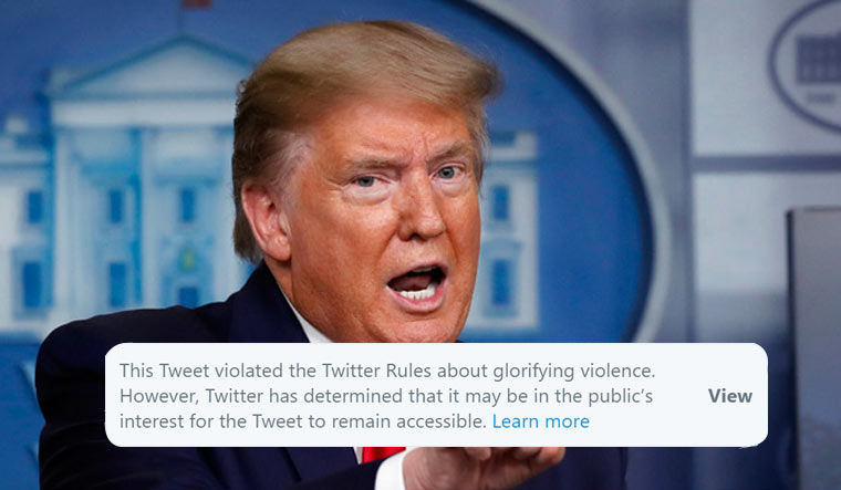 Trump replies after Twitter flags his tweet for 'glorifying violence'