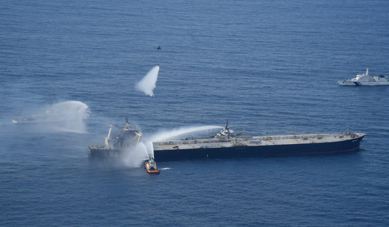 Fire on oil tanker near Sri Lanka coast completely extinguished: Navy