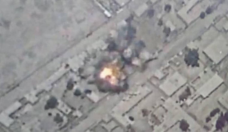 A photo of one of the air strikes, released by Afghanistan's Ministry of Defence