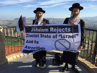 Jews against Israel: Yisroel Dovid Weiss and a fellow Rabbi with an anti-Israel banner.