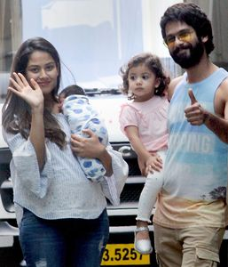 Shahid Kapoor, wife Mira Rajput, and Their Children | PTI