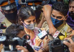 Rhea Chakraborty outside the Narcotics Control Bureau office in Mumbai | PTI