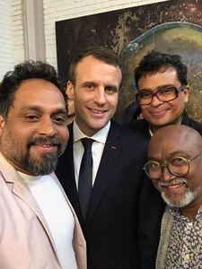 In elite company: (Clockwise from left) Riyas Komu, Emmanuel Macron, Jitish Kallat and Bose Krishnamachari.
