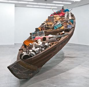 Boatload of stories: What does the vessel contain, that the river does not, by Subodh Gupta.