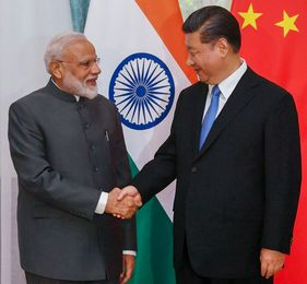 Photo Modi and XI at The Shanghai Cooperation Organisation Summit in Bishkek, Kyrgyzstan/PTI