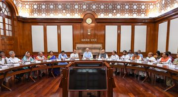 Prime Minister Narendra Modi and his ministers at the first cabinet meeting | PTI