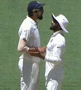 Common phenomenon: The squabble on the field between Ishant Sharma (left) and Ravindra Jadeja.